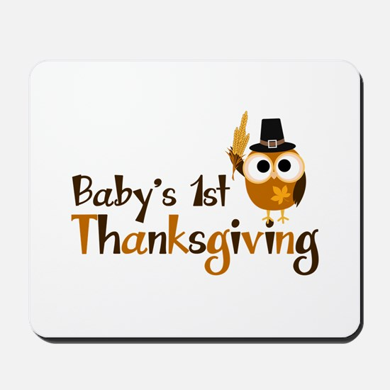 Baby's 1st Thanksgiving Owl Mousepad