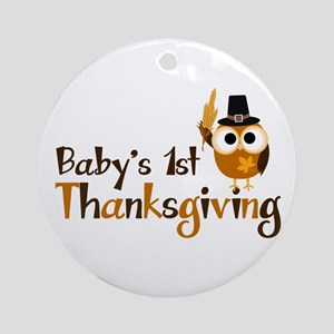 Baby's 1st Thanksgiving Owl Ornament (Round)