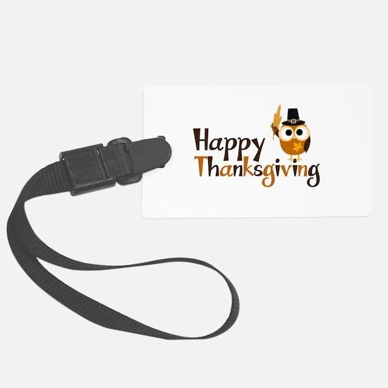 Happy Thanksgiving Owl Luggage Tag