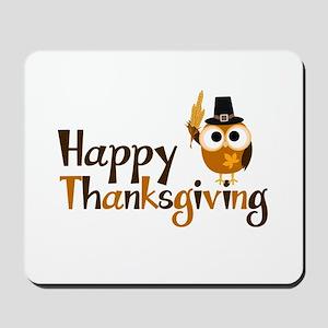 Happy Thanksgiving Owl Mousepad