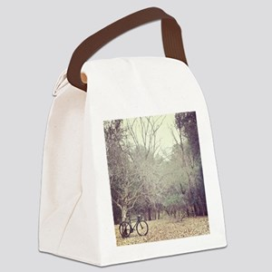 Bicycle awaits at entrance to for Canvas Lunch Bag