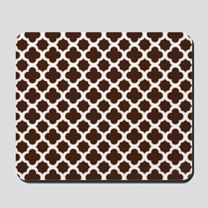 Quatrefoil Pattern Brown and White Mousepad