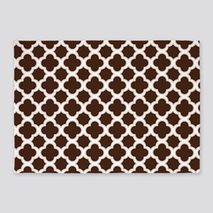 Quatrefoil Pattern Brown and White 5'x7'Area Rug