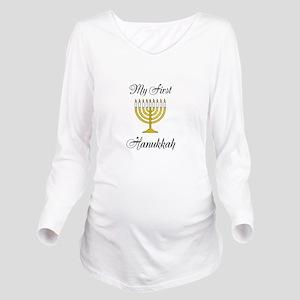 My First Hanukkah Long Sleeve Maternity T-Shirt