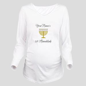 Custom 1st Hanukkah Long Sleeve Maternity T-Shirt