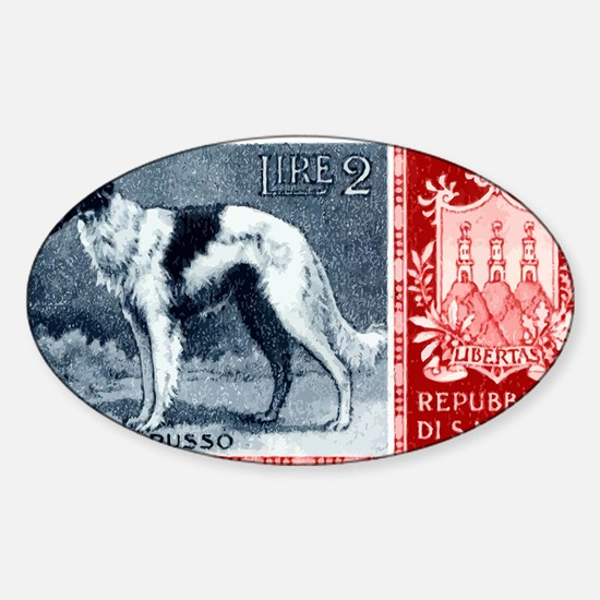 Vintage 1956 San Marino Borzoi Dog  Sticker (Oval)