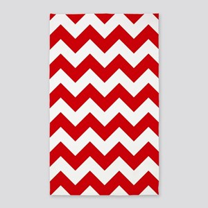 Red And White Chevron Pattern 3'X5' Area Rug