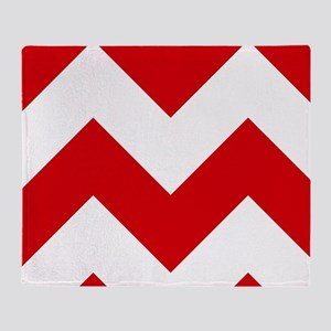 Red And White Chevron Pattern Throw Blanket