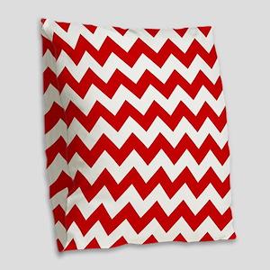 Red And White Chevron Pattern Burlap Throw Pillow