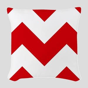 Red And White Chevron Pattern Woven Throw Pillow
