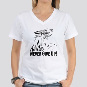 Never Give Up! Women's V-Neck T-Shirt
