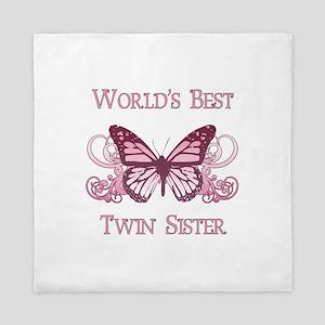 World's Best Twin Sister (Butterfly) Queen Duvet