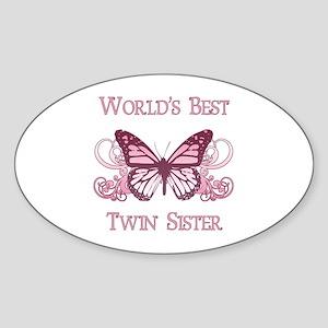 World's Best Twin Sister (Butterfly) Sticker (Oval