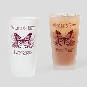 World's Best Twin Sister (Butterfly) Drinking Glas
