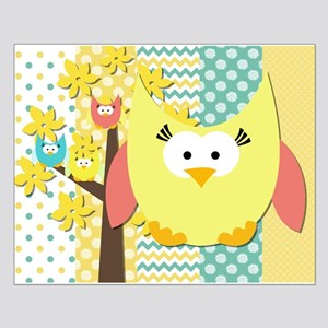 Patterns And Owls Small Poster