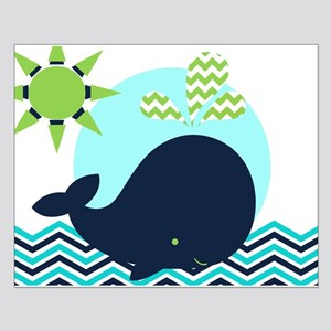 Navy Whale On Chevron Ocean Small Poster
