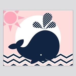Navy Whale On Pink Ocean Small Poster