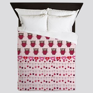 Valentine Owls and Hearts Queen Duvet
