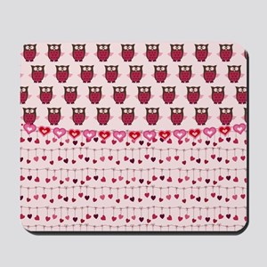 Valentine Owls and Hearts Mousepad