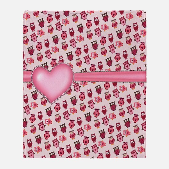 Pearl Heart and Owls Throw Blanket