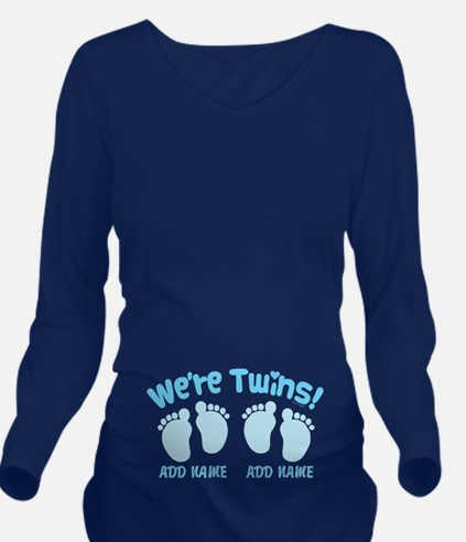 Were Twin Boys Customize Long Sleeve Maternity T-S