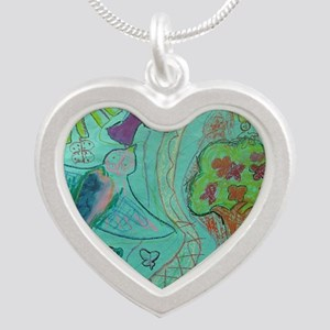 bird and tree Silver Heart Necklace