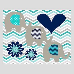 Gray Elephants On Chevron Small Poster