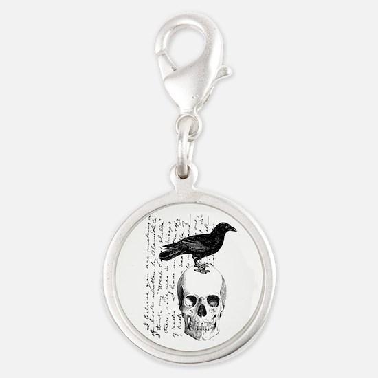 Vintage Raven & Skull Silver Round Charm