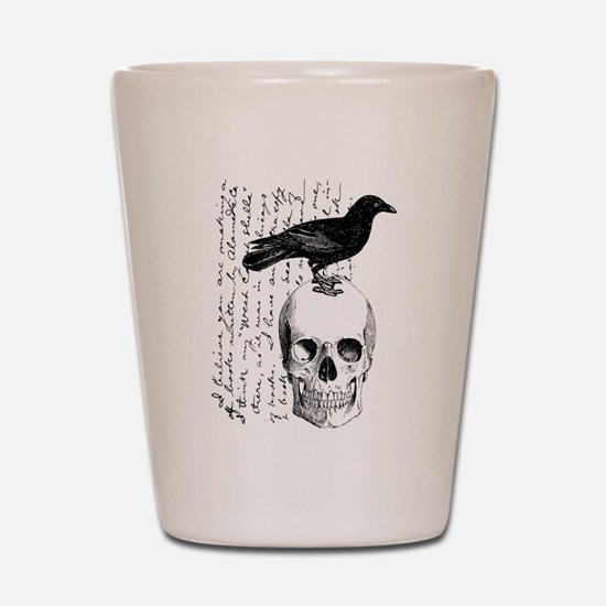 Vintage Raven & Skull Shot Glass