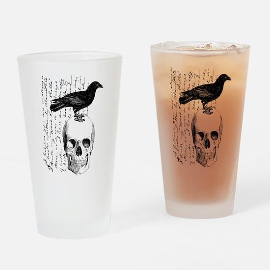 Vintage Raven & Skull Drinking Glass