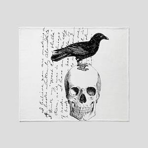 Vintage Raven & Skull Throw Blanket