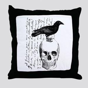 Vintage Raven & Skull Throw Pillow