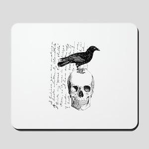 Vintage Raven & Skull Mousepad