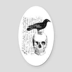 Vintage Raven & Skull Oval Car Magnet
