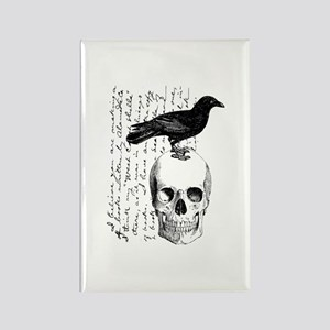 Vintage Raven & Skull Rectangle Magnet