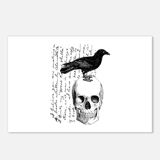 Vintage Raven & Skull Postcards (Package of 8)