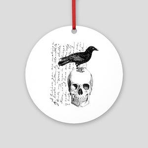 Vintage Raven & Skull Ornament (Round)