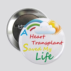 "Heart Transplant Rainbow Cloud 2.25"" Button"