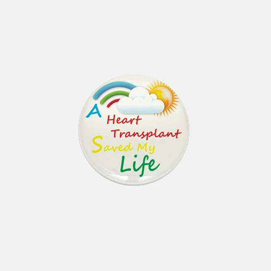 Heart Transplant Rainbow Cloud Mini Button
