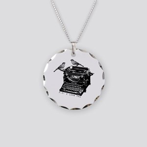 Vintage B&W Typewriter & Birds Necklace Circle Cha