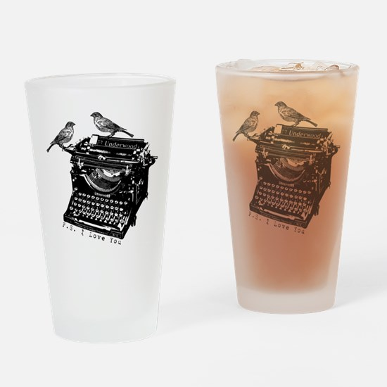 Vintage B&W Typewriter & Birds Drinking Glass