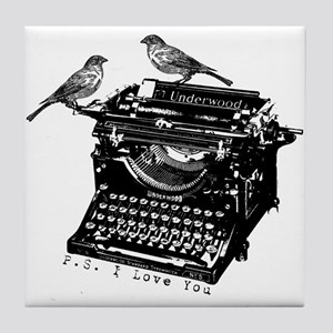 Vintage B&W Typewriter & Birds Tile Coaster