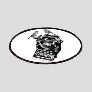 Vintage B&W Typewriter & Birds Patches