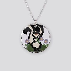 funny skunk with flowers Necklace Circle Charm