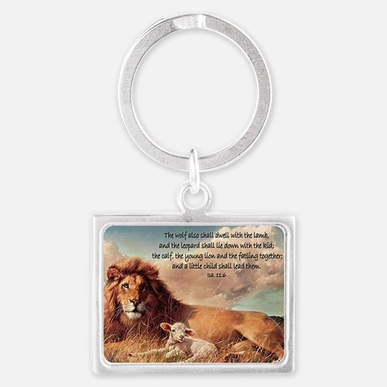 greeting card lion and lamb Landscape Keychain