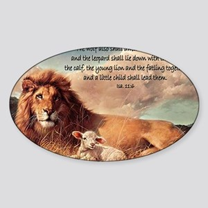 greeting card lion and lamb Sticker (Oval)