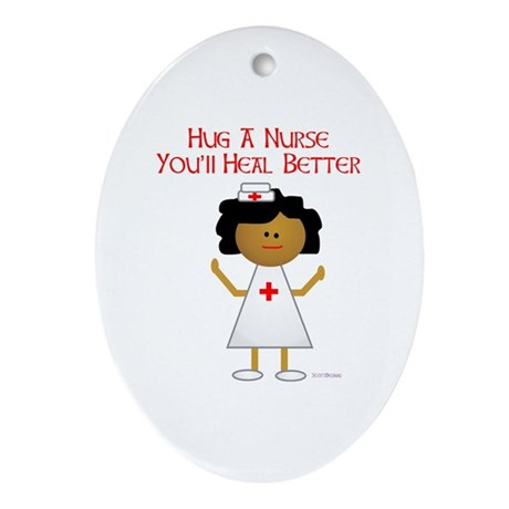 Hug A Nurse Oval Ornament