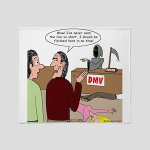 Death Works at the DMV Throw Blanket