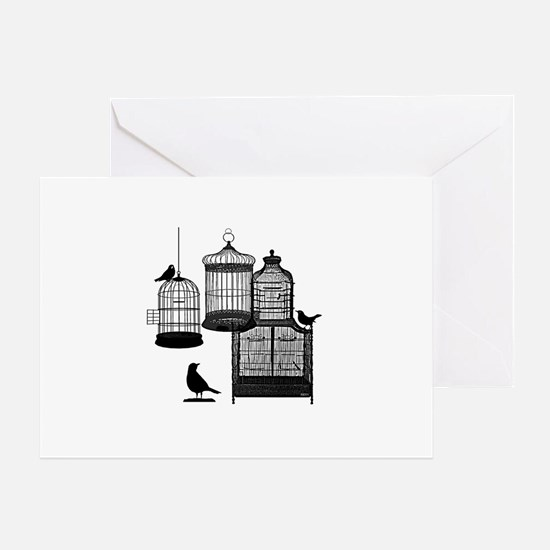 3 Bird Cages & Birds Greeting Card
