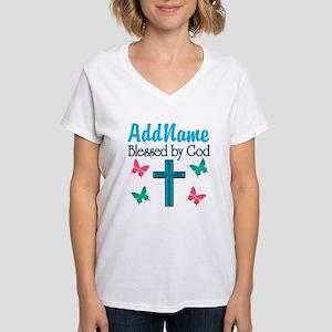BLESSED BY GOD Women's V-Neck T-Shirt